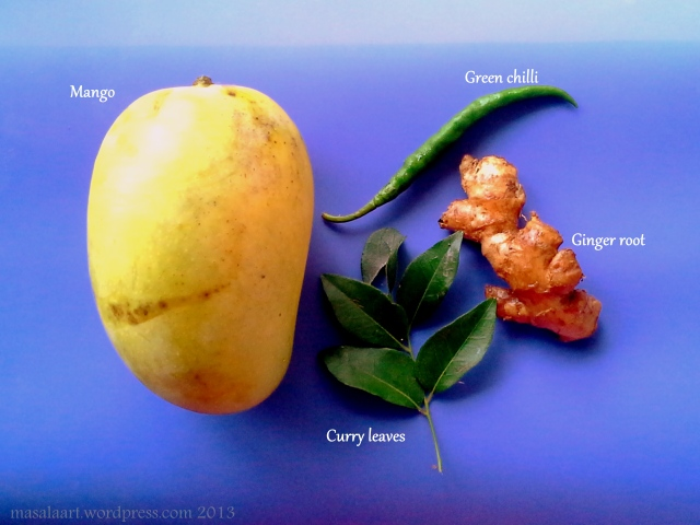 ingredients for mango chutney laid out
