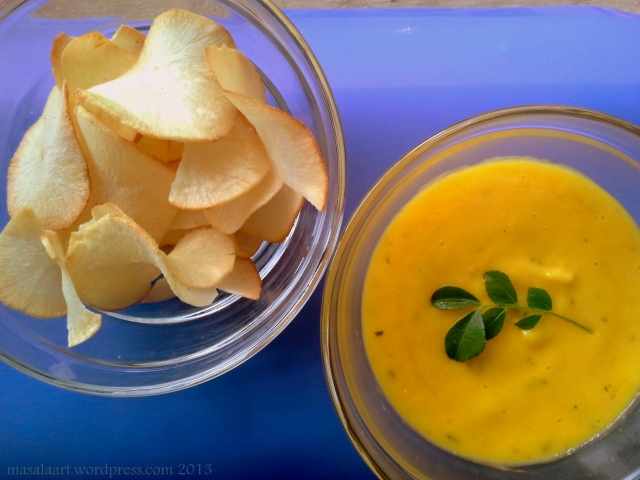 mango chutney with tapioca chips
