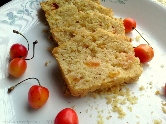 cherry almond cake slices on plate
