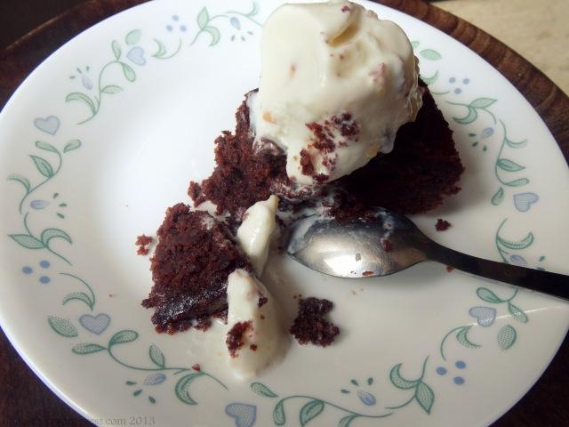 chocolate olive oil cake slice close up