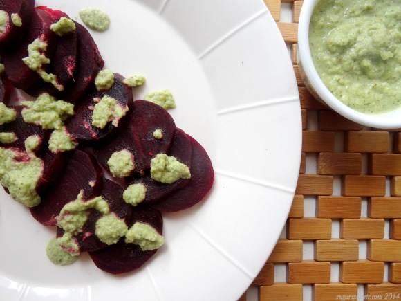 Drizzle the pesto over the beets, or just gob them on like I did.