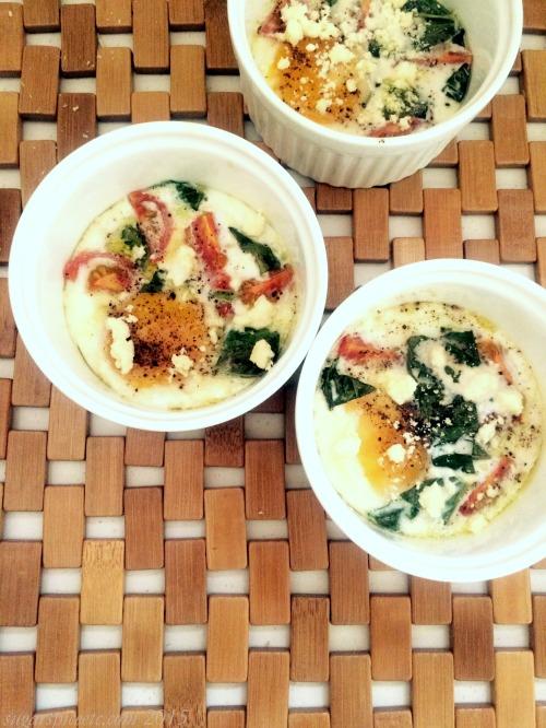 basil tomato chevre baked eggs